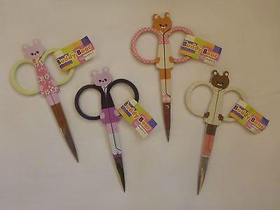 "Embroidery Scissors 3 3/4"" (95mm) Buddy Bears[Cream/Brown]-128"